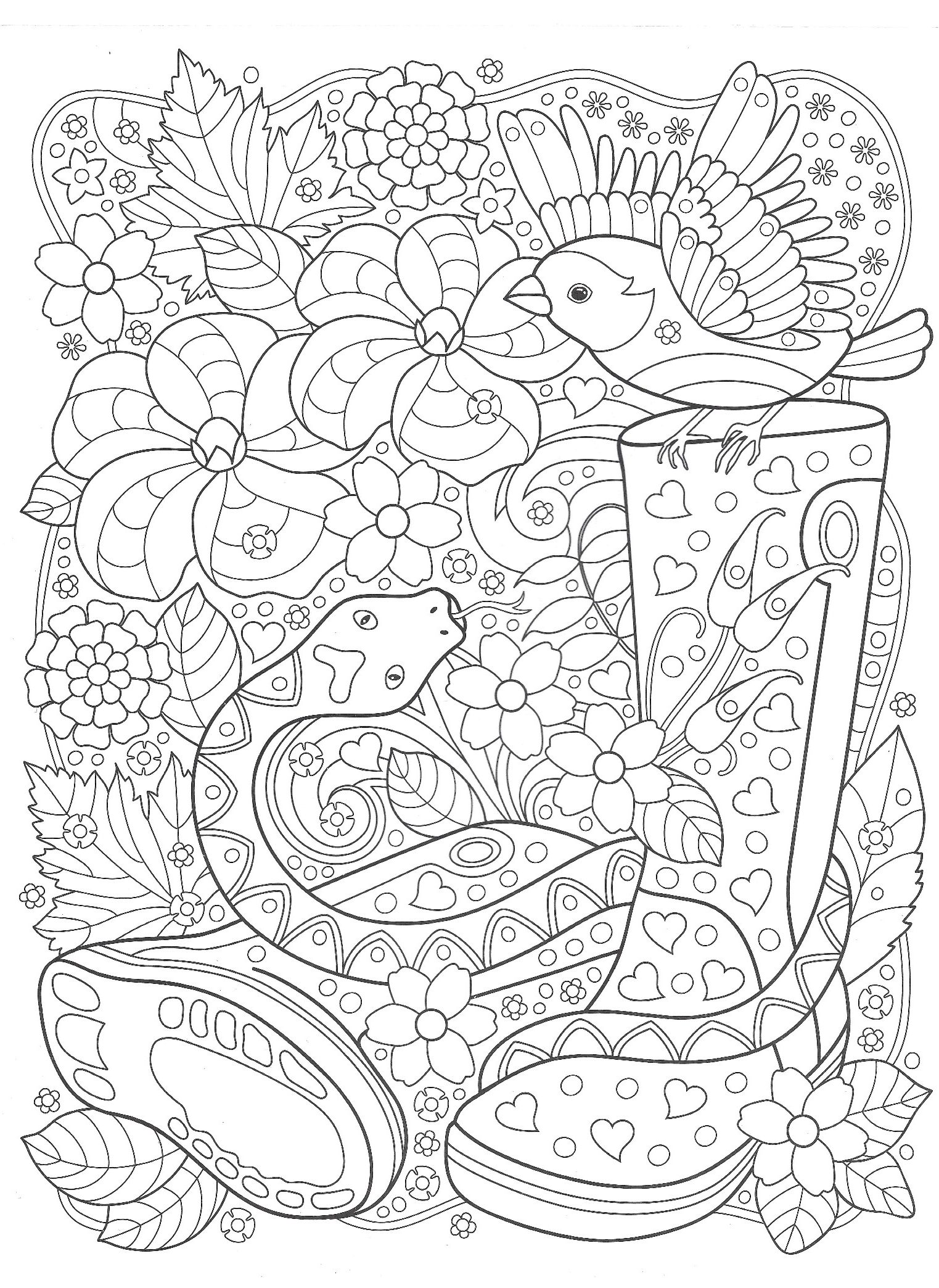 The bird and the snake in the garden