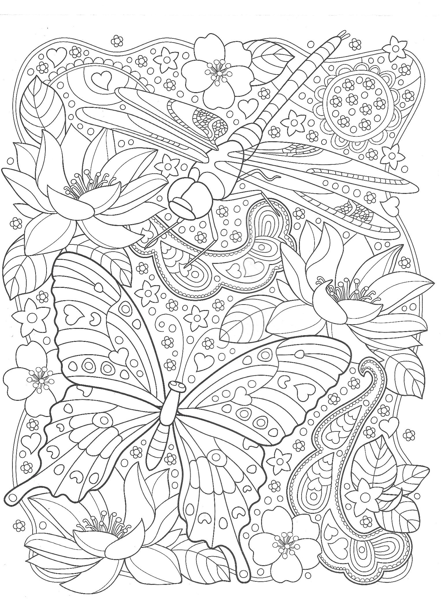 Butterfly and dragonfly with flowers