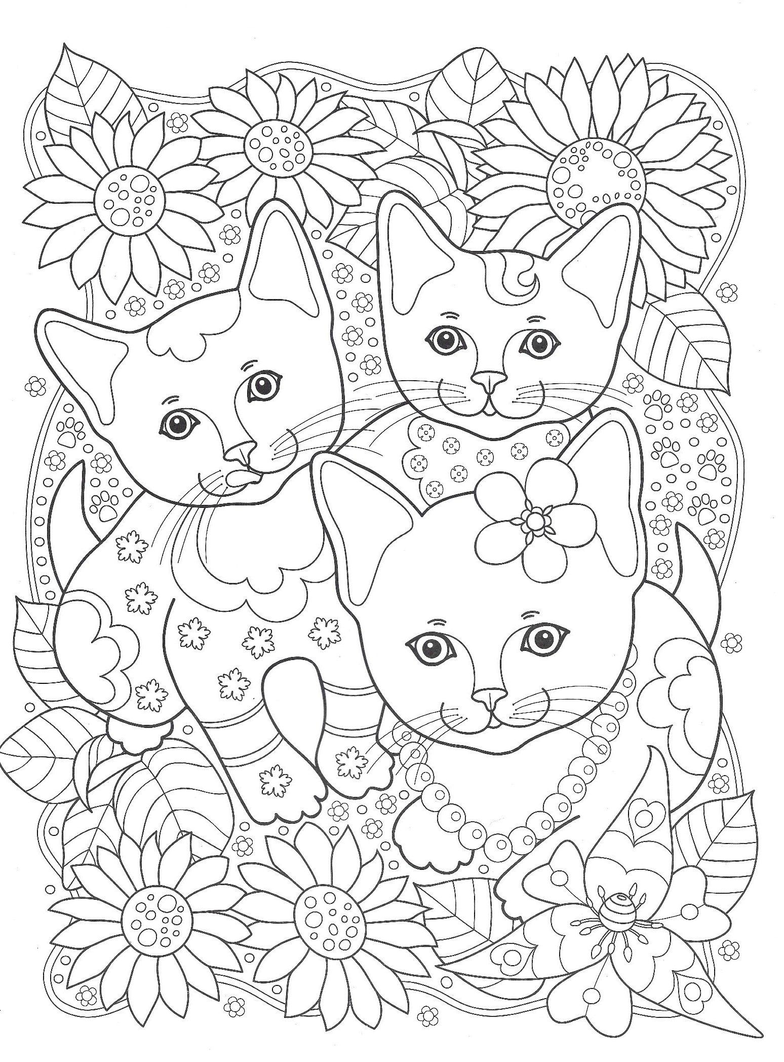 Three cats in the garden