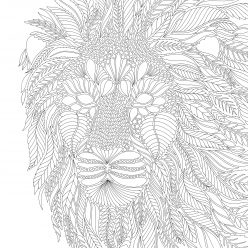 Lion head from the leaves