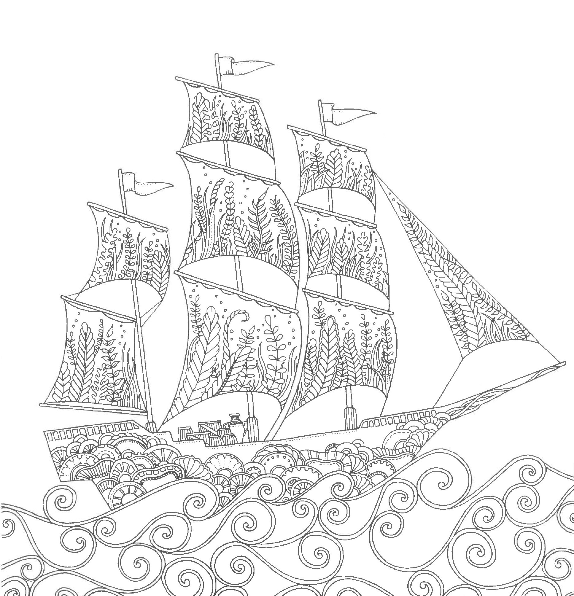 A ship on the waves