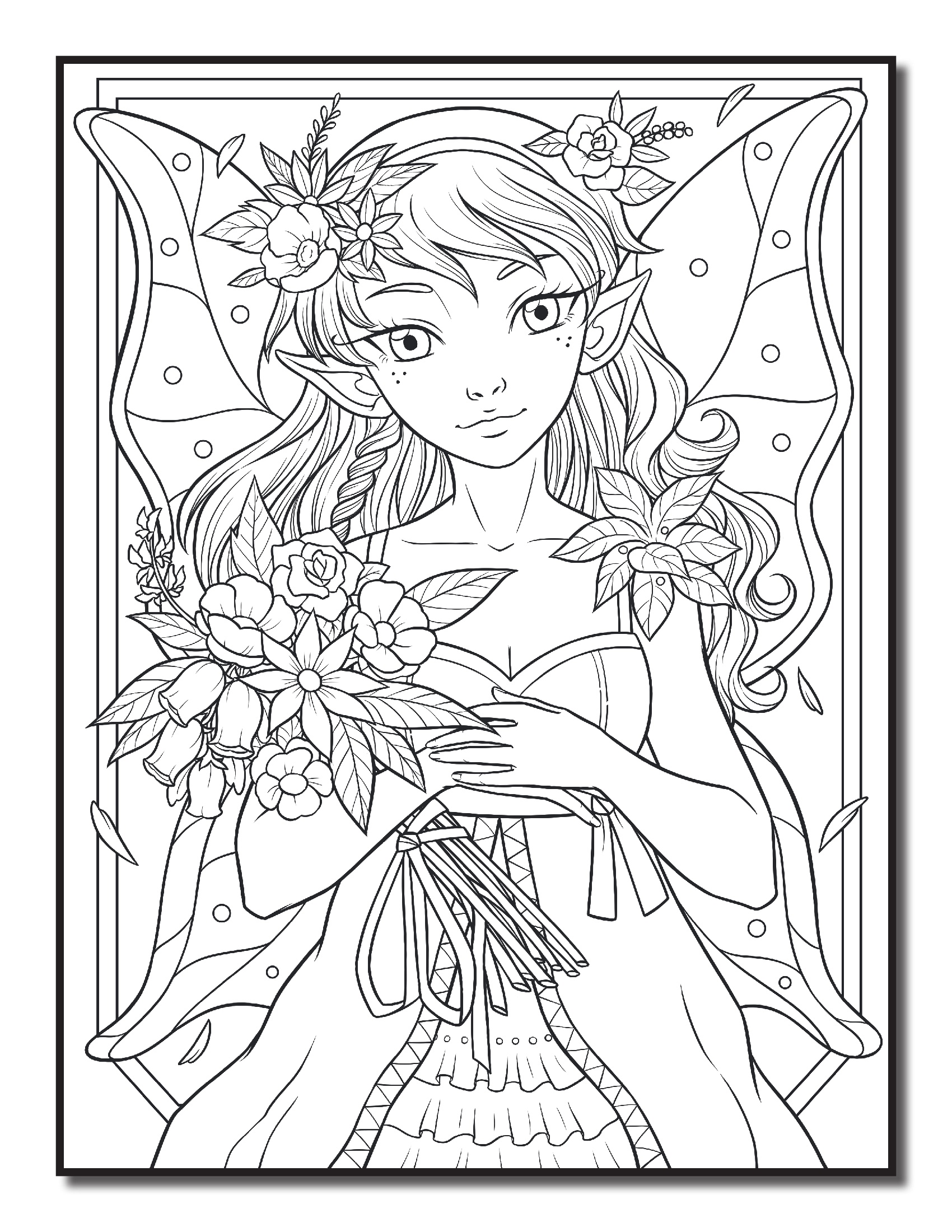 Fairy with bouquet of flowers