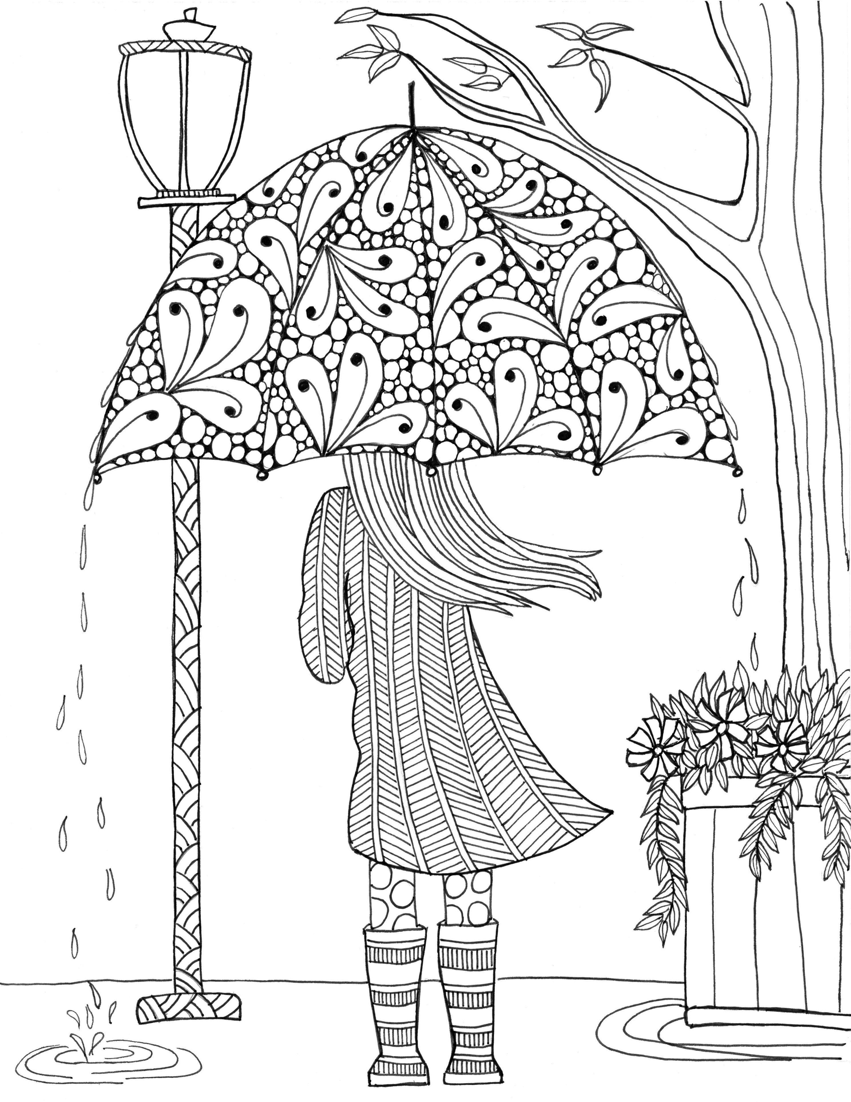 Girl with umbrella autumn