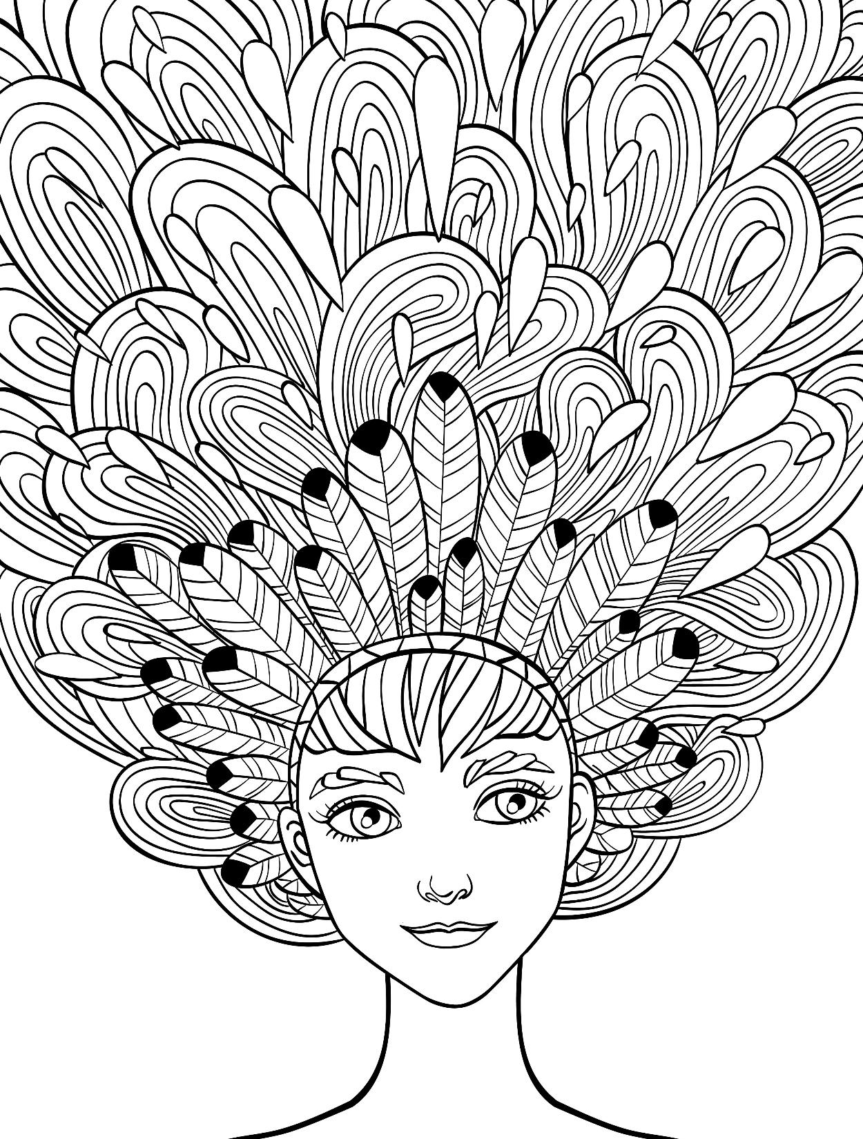 Girl with feathers in her hair