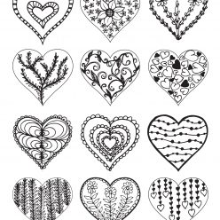 Hearts with different patterns