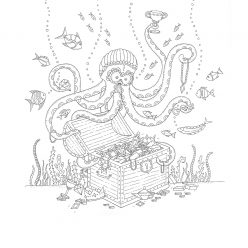 Octopus with treasure chest