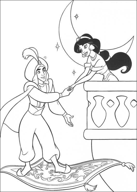 Aladdin and Jasmine on the balcony