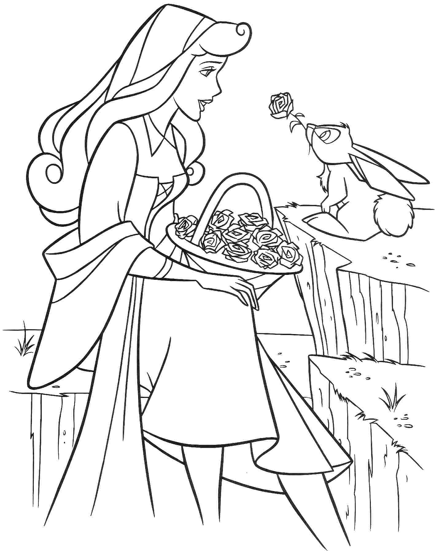 Princess Aurora with flowers