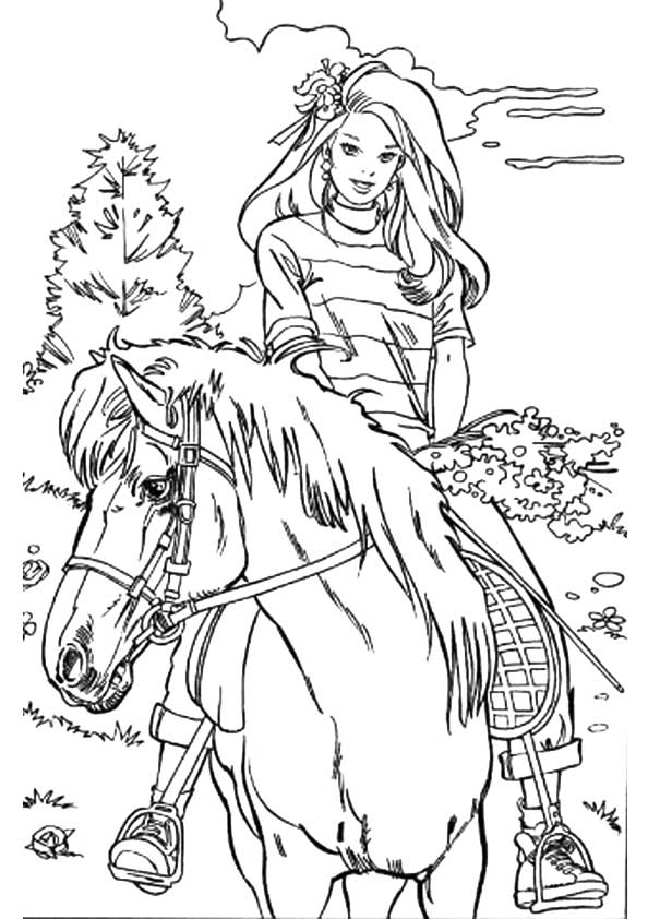 Barbie with flowers on the horse