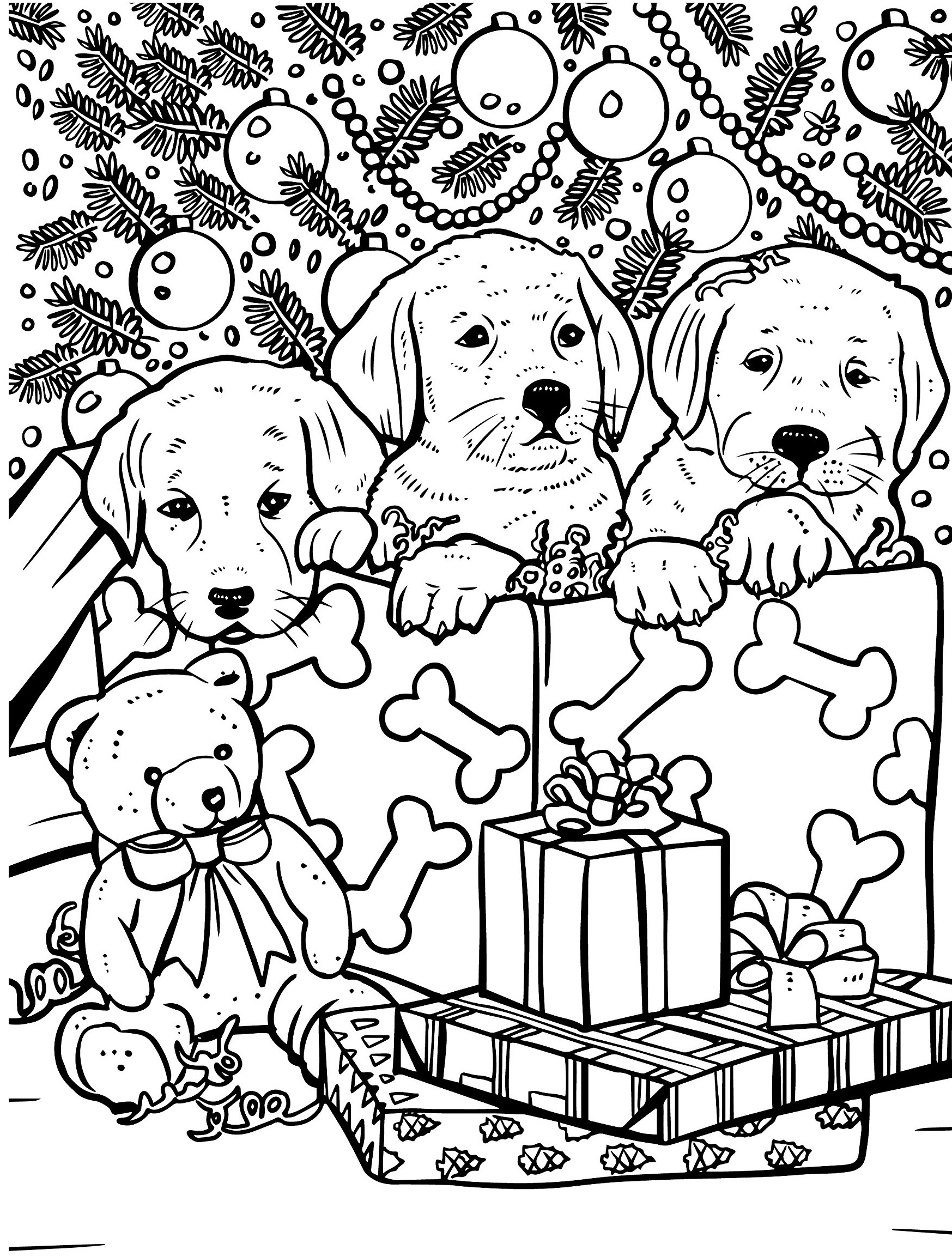 Puppies under the Christmas tree