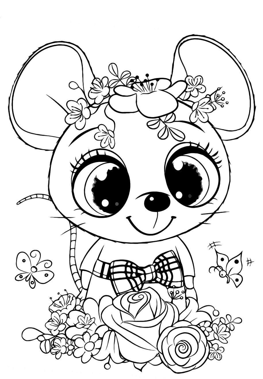 Cute Mouse with flowers