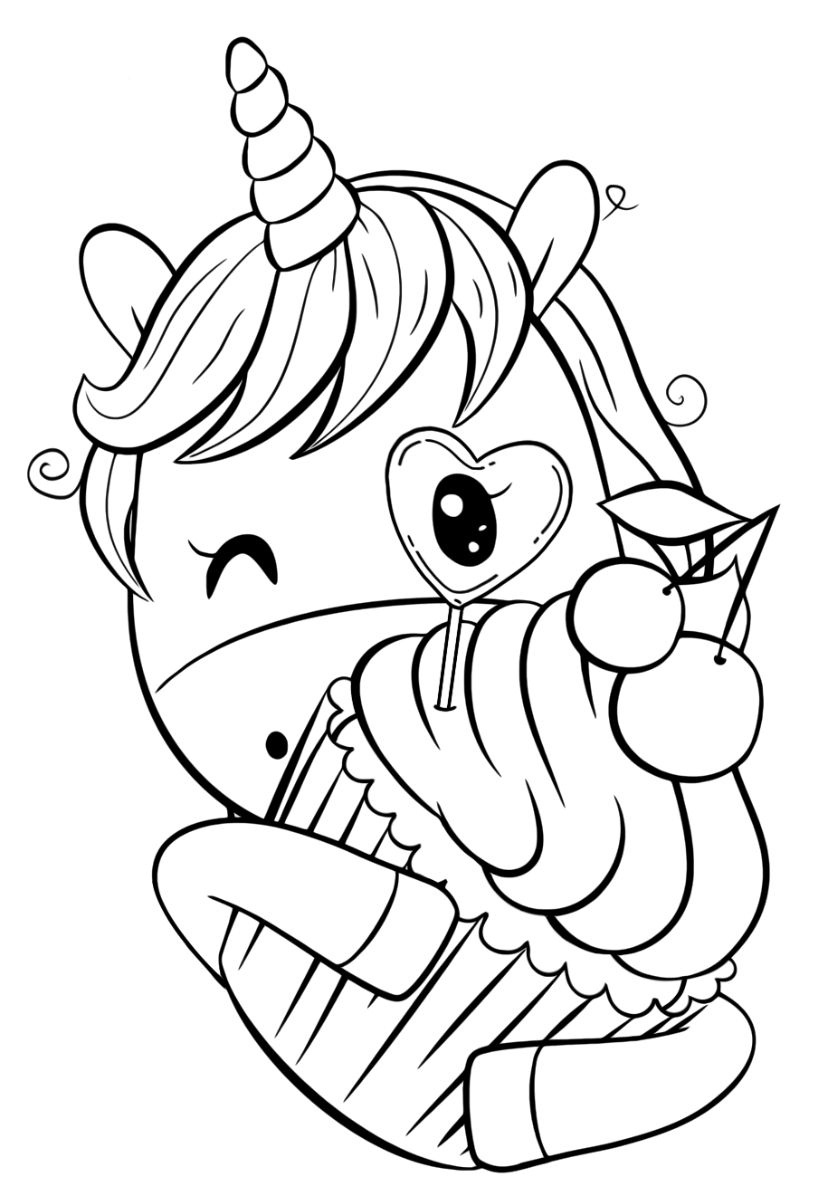 One unicorn's cutie with cupcakes - Coloring pages for you