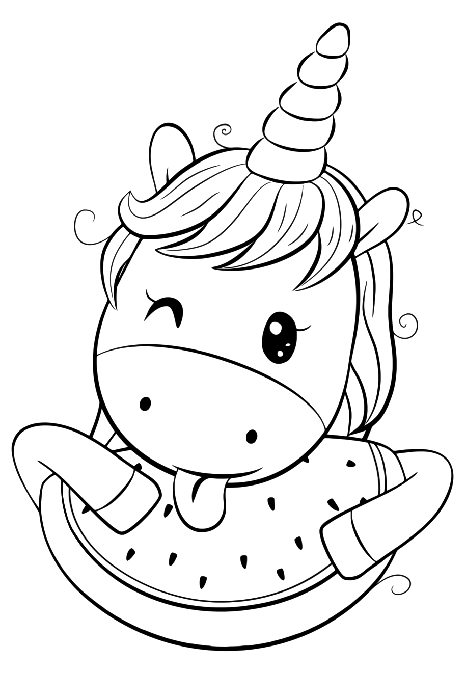 Cute Unicorn with watermelon - Coloring pages for you