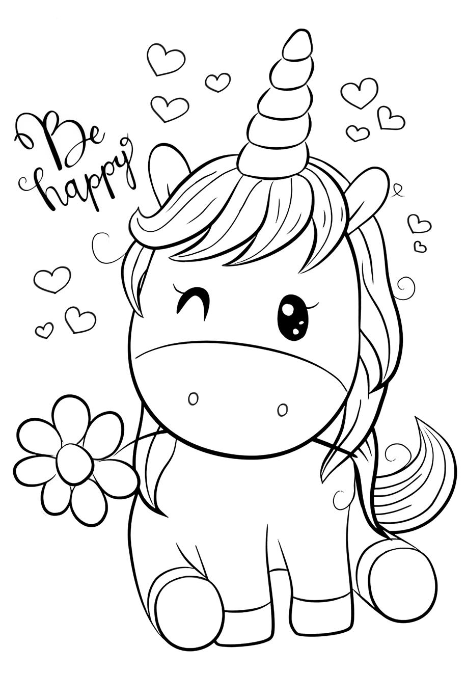 Cute Unicorn with chamomile