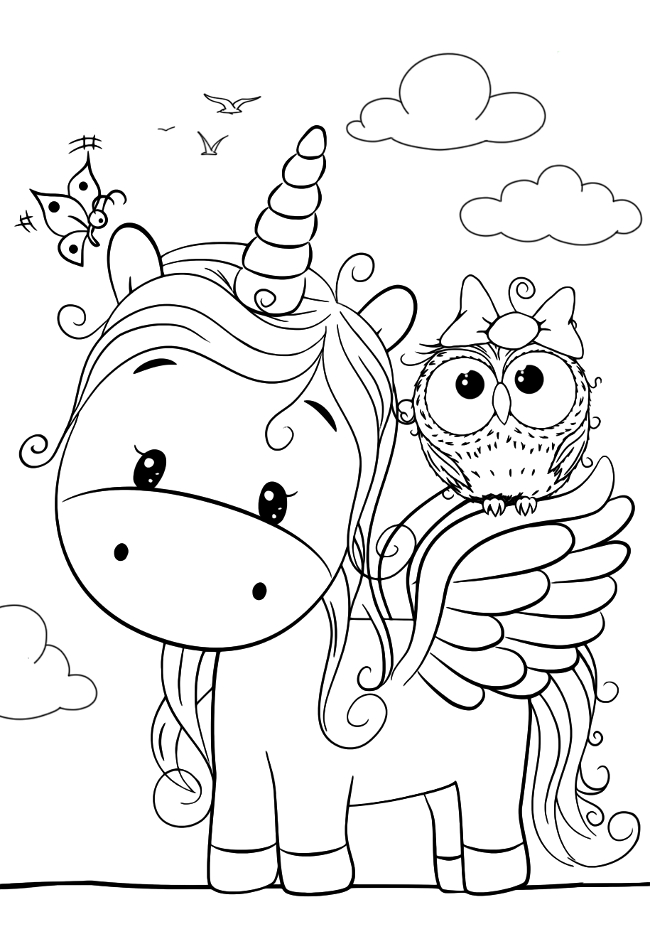 Cute Unicorn with an owl - Coloring pages for you