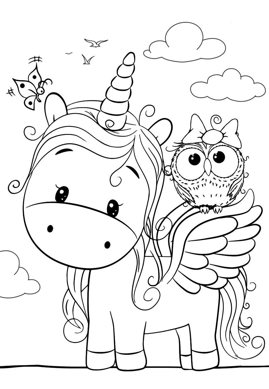 Cute Unicorn with an owl