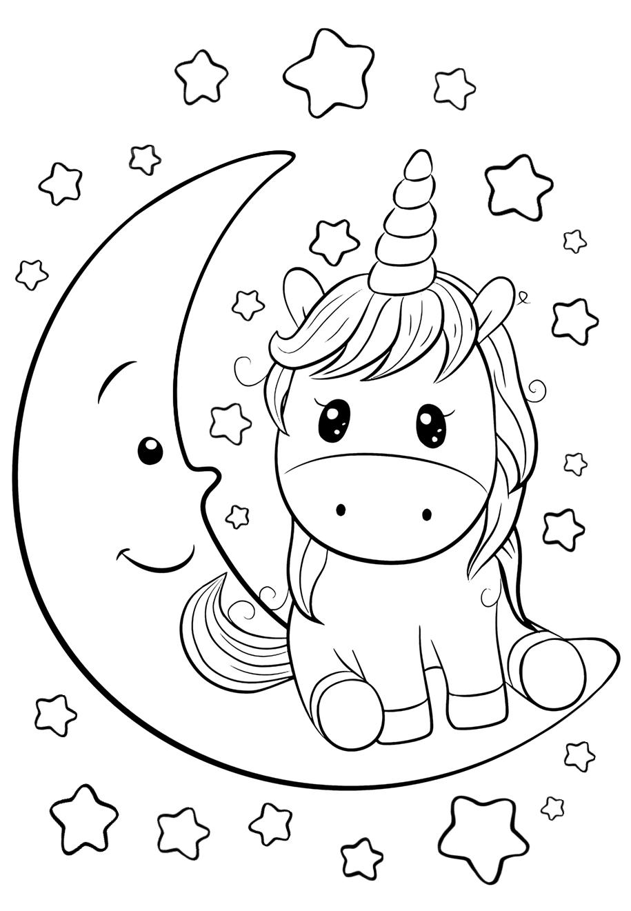 Cute Unicorn on the moon
