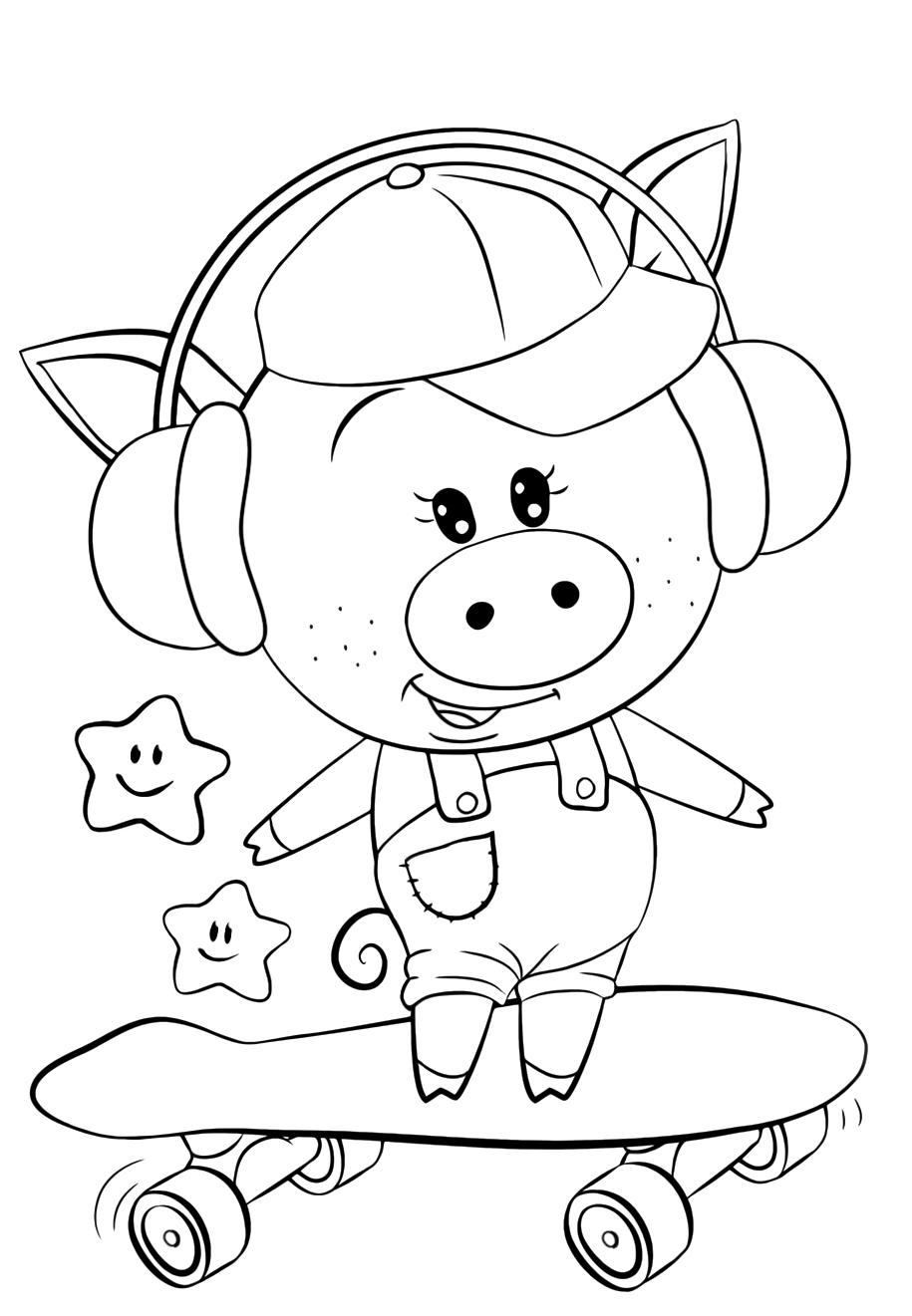 Pig on a skateboard