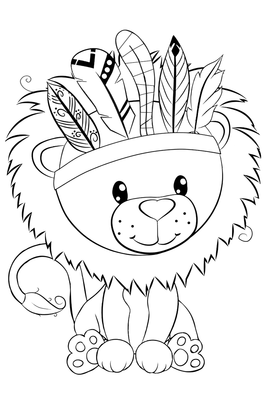 Cute lion with a mane