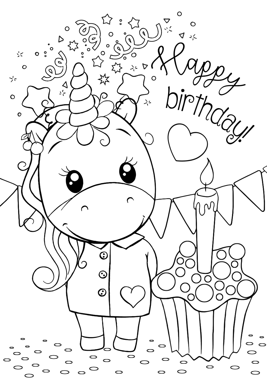 Unicorn happy birthday - Coloring pages for you