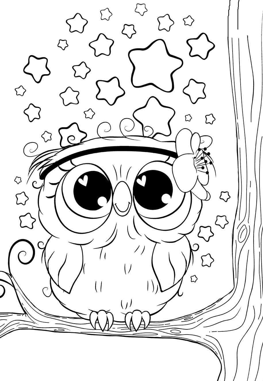 Cute Owl with stars