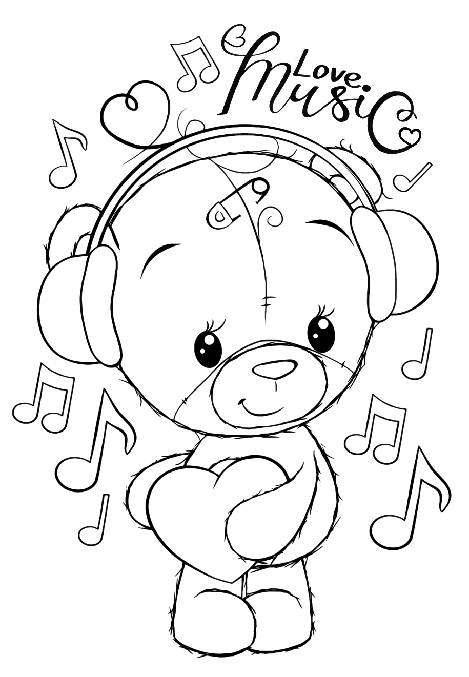 Teddy bear loves music