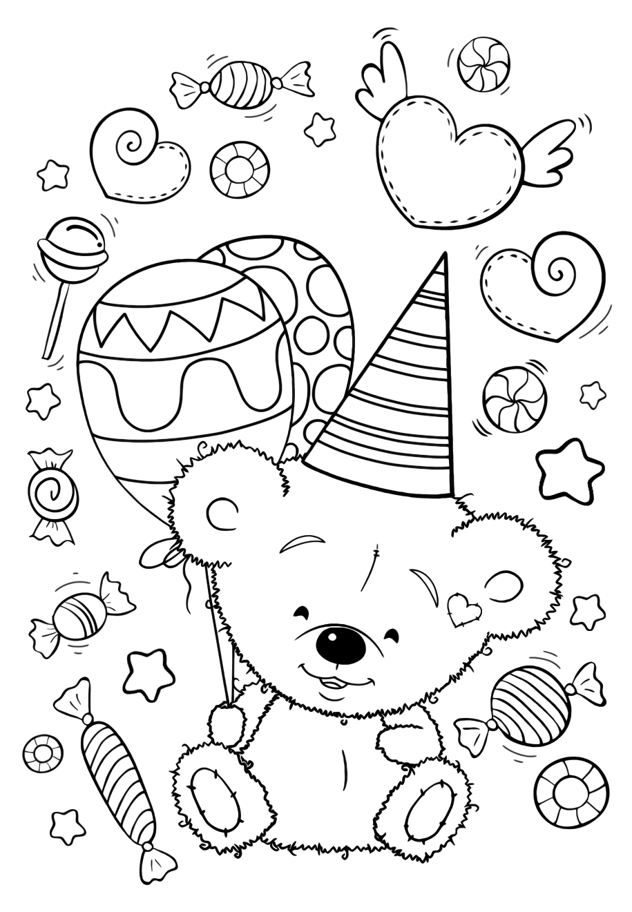 Bear with balloons on holiday