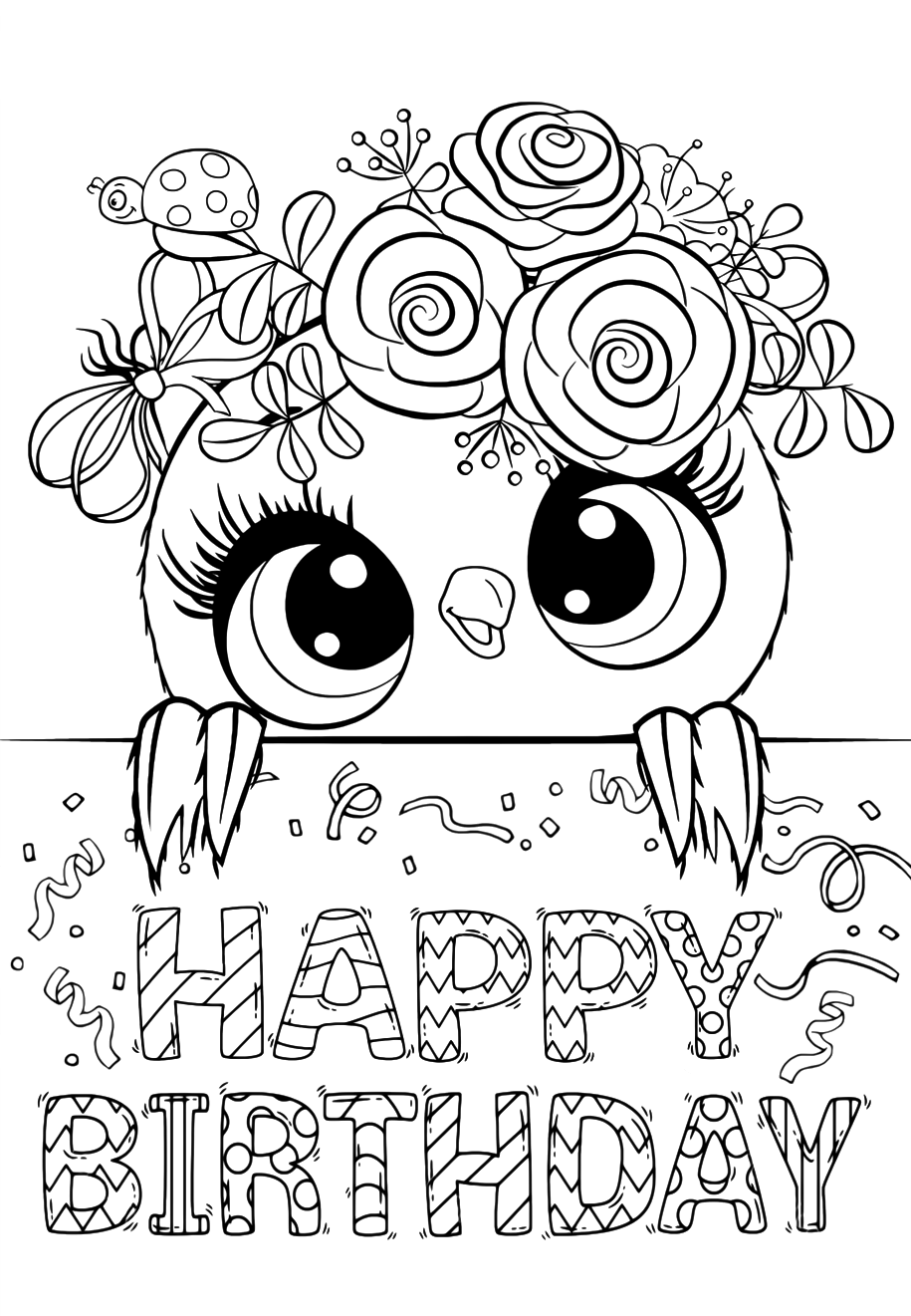 Happy birthday - Coloring pages for you