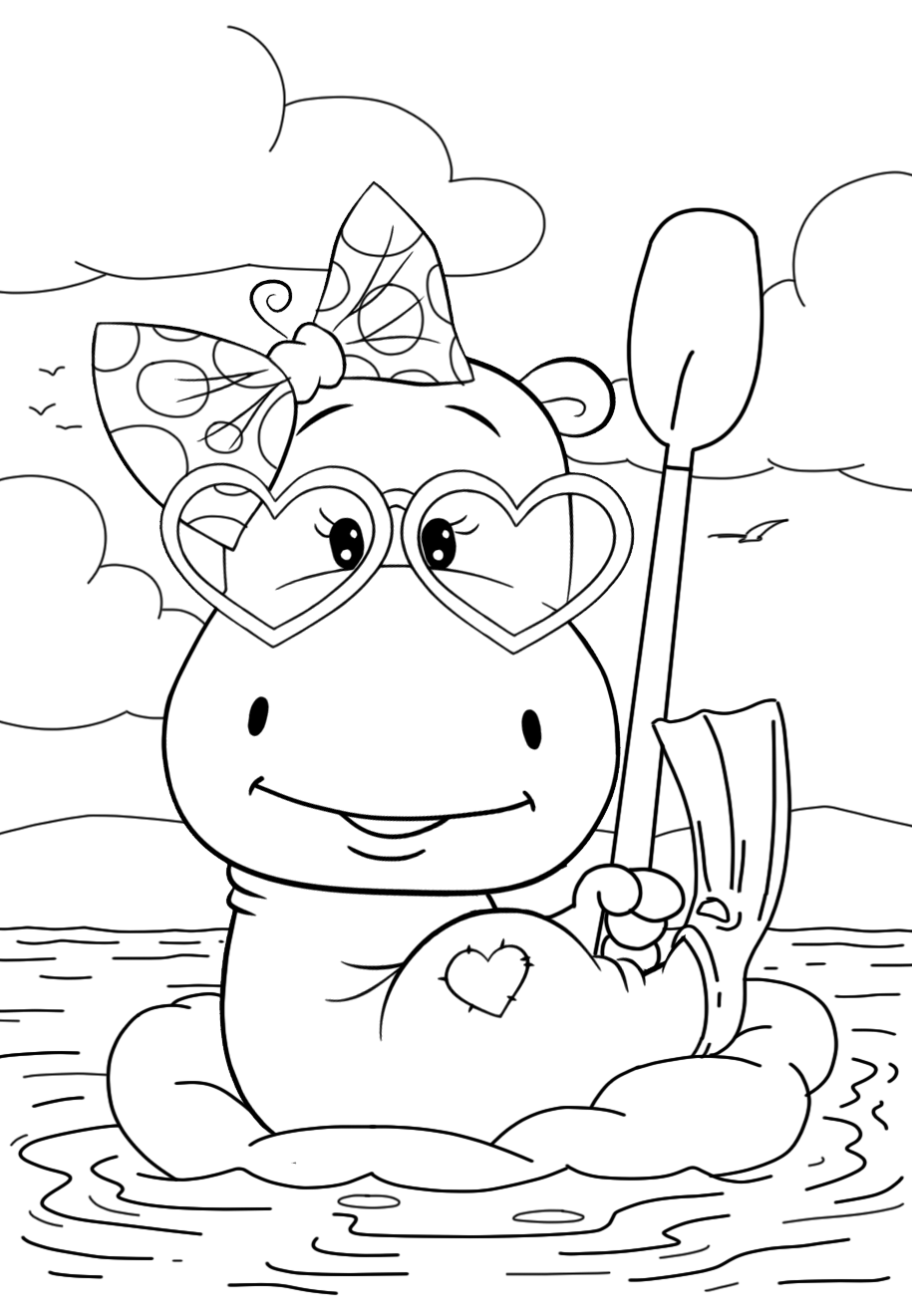 Hippo resting - Coloring pages for you
