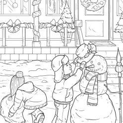 Children make a snowman