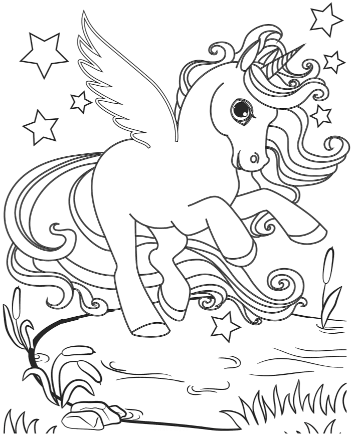 Baby unicorn on a pond