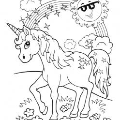 Little unicorn with a rainbow