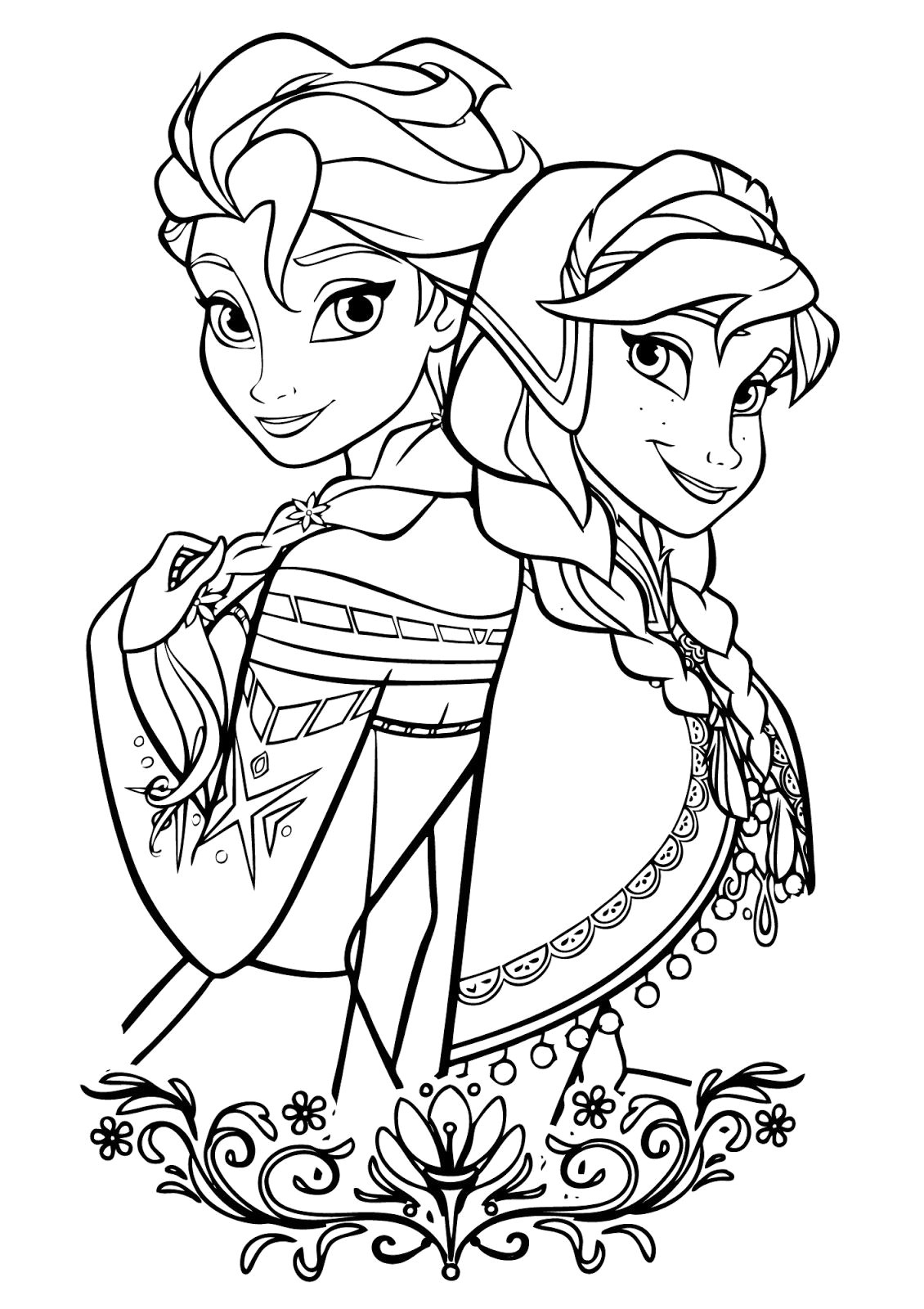 Elsa and Anna in winter outfit