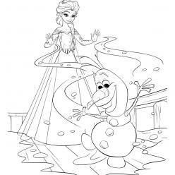 Elsa helps Olaf