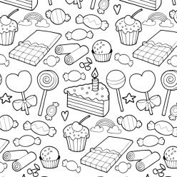 Candies, lollipops and cakes