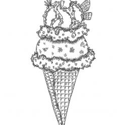 Ice cream cone with cherry