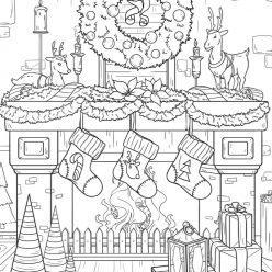 Beautifully decorated fireplace with gifts and wreath