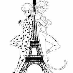 Ladybug and super cat near the Eiffel tower