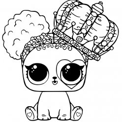 LOL doll pet dog with a crown