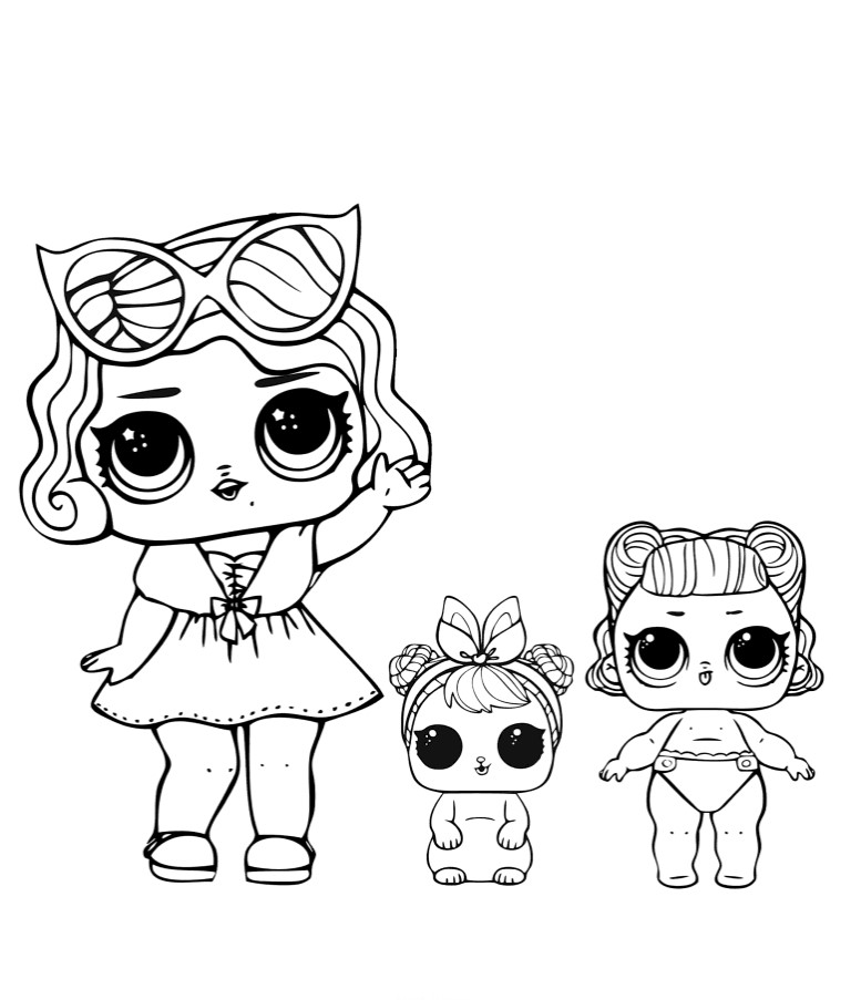 doll lol glamour with pet and little sister - coloring