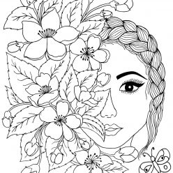 Art therapy the face with flowers