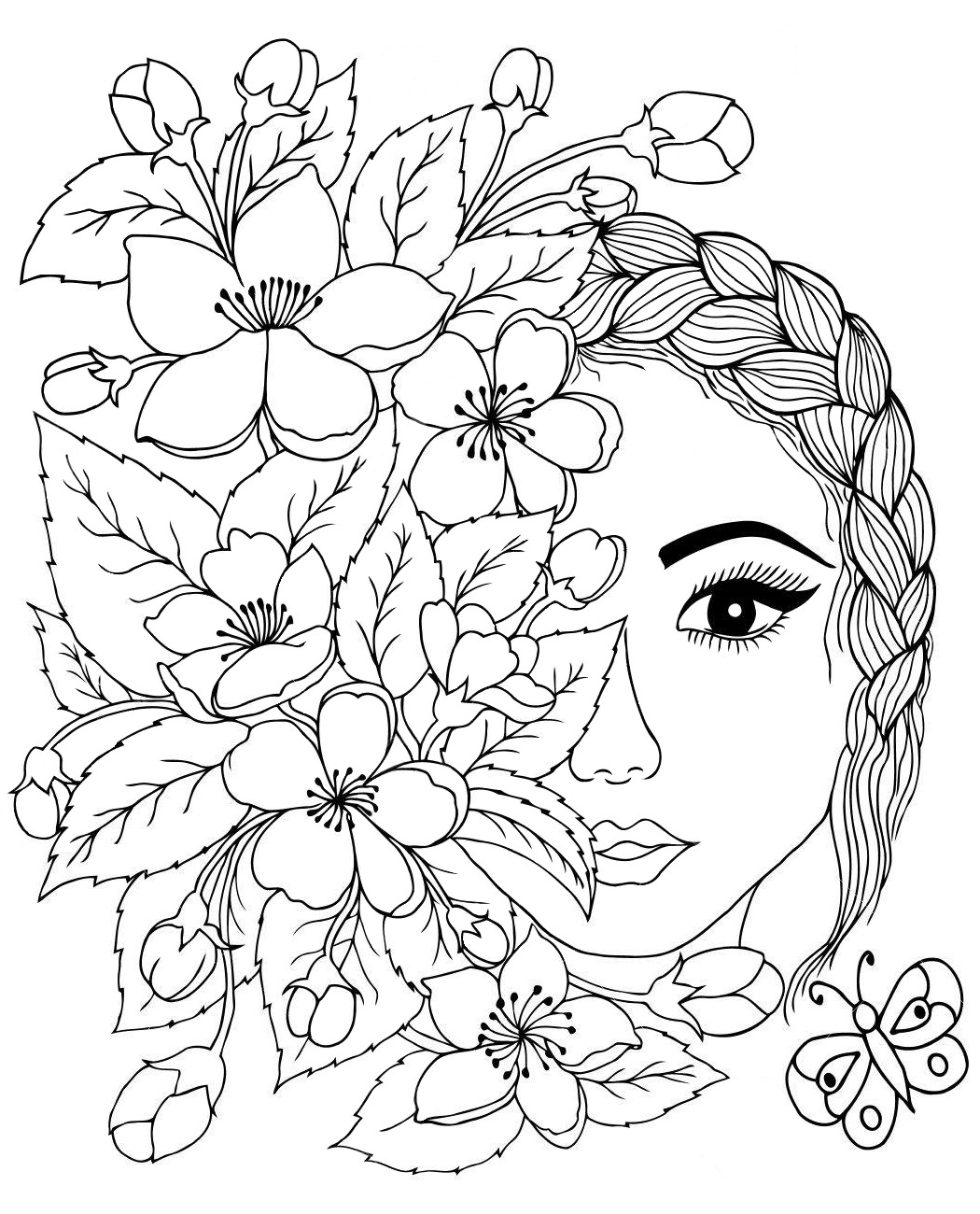 Art therapy the face with flowers - Coloring pages for you
