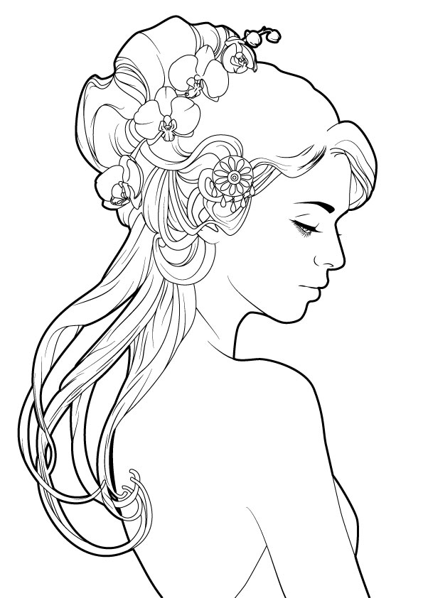 Silhouette of a girl with Orchid