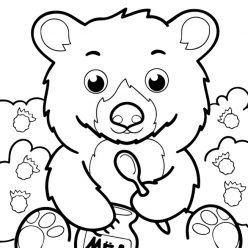 Bear with raspberries and honey