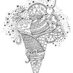 The ice-cream cone with fruit