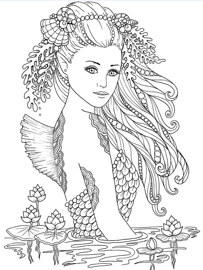 Mermaid with beautiful hair