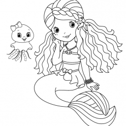 Girl mermaid with baby jellyfish