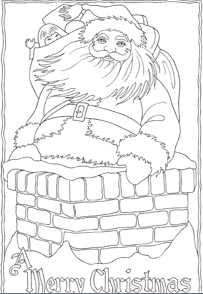 Santa with bag of gifts in the pipe