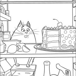 Chloe the cat with the cake