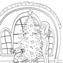 Cindy Lou and mom decorate the Christmas tree before Christmas